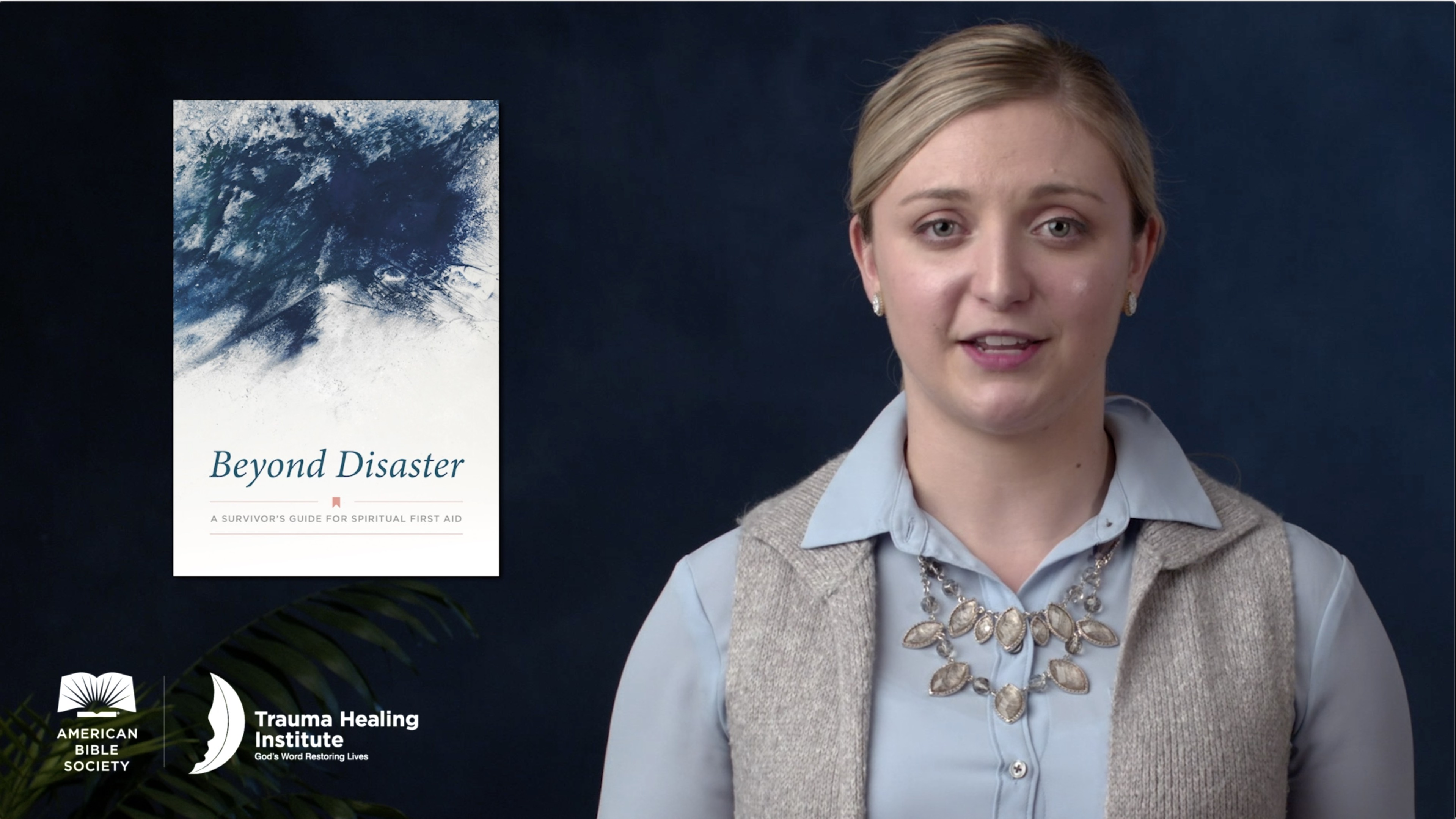 Brianna Leiendecker presents the Beyond Disaster booklet (screen capture)